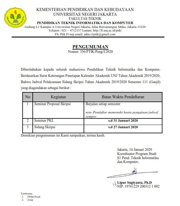 Pengumuman Batas Akhir Pendaftaran Semester 111 PTIK